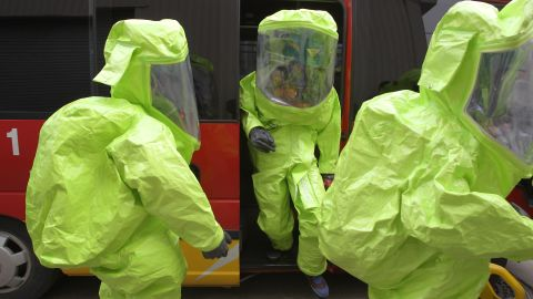 """Emergency service personnel wearing chemical protective clothing participate in an anti-chemical warfare exercise on Tuesday, April 16 in Seoul. Tensions remain high in the Korean Peninsula in the wake of North Korea's recent nuclear threats and provocations. A Pentagon intelligence assessment suggests the North may have the ability to deliver a nuclear weapon with a ballistic missile, though the reliability is believed to be """"low."""""""
