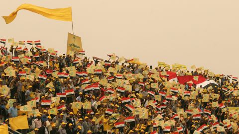 A sandstorm strikes Baghdad on April 16, during a rally where the head Shiite Muslim leader Ammar al-Hakim was speaking.
