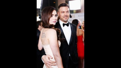 """Megan Fox and Brian Austin Green were engaged in 2007 but <a href=""""http://www.people.com/people/article/0,,20261194,00.html"""" target=""""_blank"""" target=""""_blank"""">called it off two years later</a>. By June 2010, though, <a href=""""http://www.cnn.com/2010/SHOWBIZ/celebrity.news.gossip/06/16/megan.fox.engaged/index.html?iref=allsearch"""" target=""""_blank"""">the pair were engaged again</a> -- and just a few weeks away <a href=""""http://www.usmagazine.com/celebrity-body/news/fox-green-wed-2010286"""" target=""""_blank"""" target=""""_blank"""">from tying the knot.</a> However, the marriage didn't last: The two <a href=""""http://www.cnn.com/videos/entertainment/2015/08/20/megan-fox-brian-austin-green-breakup-hollywood-minute-pkg.cnn"""">announced their divorce in August</a>."""