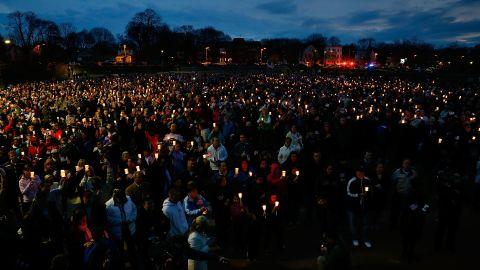 A crowd gathers at Boston's Garvey Park during a vigil for bombing victim Martin Richard on April 16, 2013.