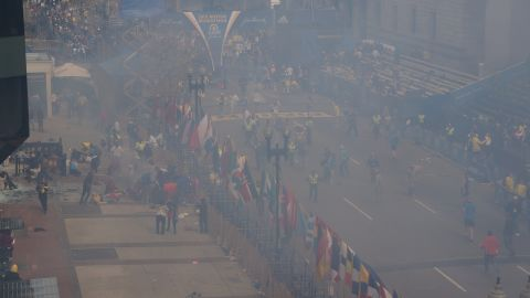 Smoke fills the surrounding area.