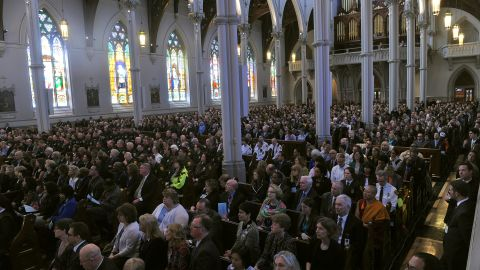 Mourners fill a Boston cathedral for an interfaith service on April 18, 2013.