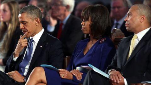 Obama, first lady Michelle Obama and Massachusetts Gov. Deval Patrick attend the interfaith prayer service.