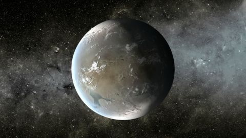 This illustration depicts Kepler-62f, a planet in the habitable zone of a star smaller and cooler than the sun, in the same system as Kepler-62e.