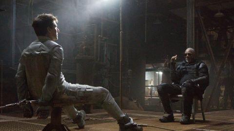"Tom Cruise stars as Jack Harper and Morgan Freeman stars as Malcolm Beech in ""Oblivion."""