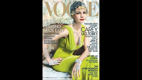 """Thanks to Carey Mulligan's role as Daisy Buchanan in Baz Luhrmann's adaptation of """"The Great Gatsby,"""" the <a href=""""http://www.vogue.com/magazine/article/great-expectations-carey-mulligan-as-daisy-buchanan-in-the-great-gatsby/#1"""" target=""""_blank"""" target=""""_blank"""">May issue of Vogue</a> offers a glamorous 1920s take on the actress."""