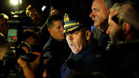 Boston Police Commissioner Edward Davis speaks during a media briefing in the parking lot of the Watertown Mall on Friday.