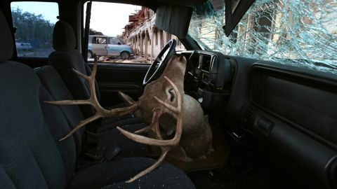 A deer head mount sits inside a car parked next to an apartment complex damaged in the explosion.