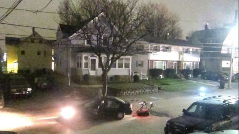 The aftermath of the shootout that police said involved the two suspects in Watertown early Friday.