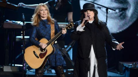 Nancy Wilson, left, and Ann Wilson of Heart perform at the event.