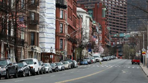 Beacon Street, with a view toward the Massachusetts State House