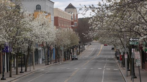 Moody Street was deserted in nearby Waltham, Massachusetts.