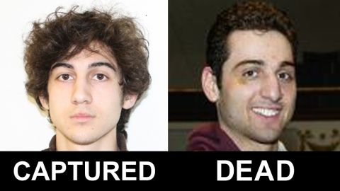 The FBI released photos and video on April 18, 2013, of two men identified as Suspect 1 and Suspect 2 in the deadly bombings at the Boston Marathon. They were later identified as Dzhokhar Tsarnaev, 19, and his brother Tamerlan Tsarnaev, 26.