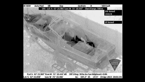 """Helicopters with infrared devices detected a man under the boat tarp. Dzhokhar Tsarnaev's frame is seen in this <a href=""""http://www.cnn.com/2013/04/17/us/gallery/boston-evidence/index.html"""">thermal image released by Massachusetts State Police.</a>"""