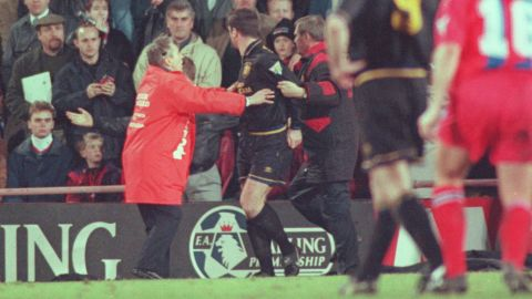 Eric Cantona accepted a ban in 1995 after kung-fu kicking a Crystal Palace fan who was verbally abusing him.