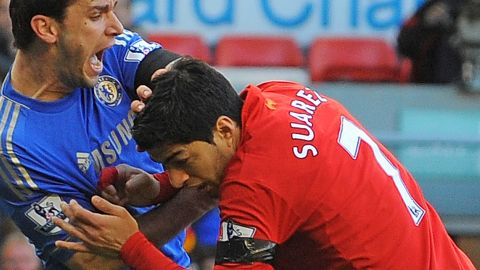 """Liverpool's Luis Suarez has been banned for 10 games by the English Football Association for biting Chelsea's Branislav Ivanovic during Sunday's match at Anfield. It was the latest example of a player displaying questionable behavior in front of a vast array of television cameras. As football coverage has grown over the last two decades, so has the scrutiny placed on the stars of the """"beautiful game."""" In this gallery, CNN highlights times when players have seemingly forgotten the eyes of the world are watching..."""