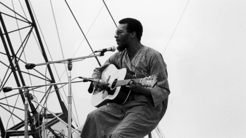 """Havens performs at Woodstock. After gaining attention at the festival, the New York native recorded a soulful cover of the Beatles' """"Here Comes the Sun,"""" which rose on the pop charts in 1970."""