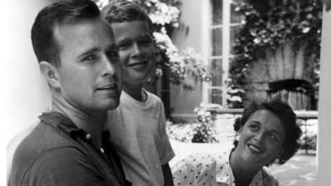 Bush and his parents are photographed in Rye, New York, during the summer of 1955. Bush's grandfather, Prescott Bush, became a US senator in 1952.