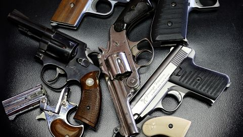 A detail view of pistols that were turned in during a gun buy back program at the First Presbyterian Church of Dallas on January 19, 2013 in Dallas, Texas.