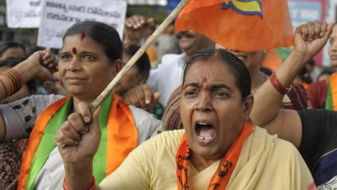 Activists and supporters of the Bharatiya Janata Party protest against the rape of a 5-year-old girl in Hyderabad on Tuesday, April 23. Demonstrations have taken place across the state since a man was arrested in the rape of the girl in New Delhi. There have been high-profile assaults in India since December, when a woman was gang raped on a bus. See photos of outrage over the sexual assault in December.