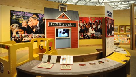 The center features an exhibit on educational policy.