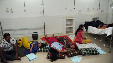 The injured receive treatment at a hospital on April 24.