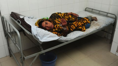 An injured person rests in a hospital bed on April 24.