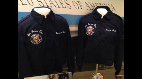President Bush's and first lady Laura Bush's jackets for Air Force One are on display.
