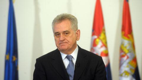 Serbian president Tomislav Nikolic is pictured in Belgrade on January 16, 2012.