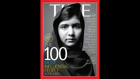Malala was one of seven people featured on the cover of Time magazine's 100 most influential people edition in April 2013.
