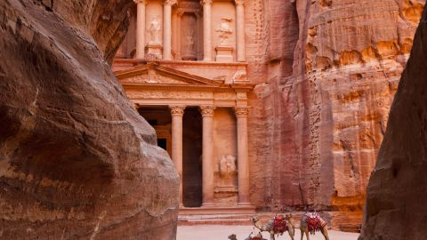 Between the Dead Sea and the Red Sea, Petra acted as the capital of the Nabataean caravanning kingdom from around the 6th century BC. Abandoned in the 2nd century AD after an earthquake crippled its water management system, the desert city carved from rose-red limestone remains one of the world's most important archaeological sites.