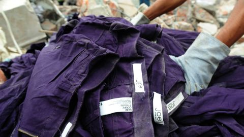 Clothing with Joe Fresh labels lies in the debris on April 30.