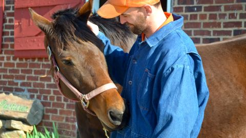 """At the <a href=""""http://jamesriverhorses.com/"""" target=""""_blank"""" target=""""_blank"""">James River Chapter </a>of the Thoroughbred Retirement Foundation, ex-racehorses team up with men at a local correctional facility. In only a month, Ace of Hearts and James, who takes care of her, already had a strong bond, according to the chapter's president, Anne Tucker."""