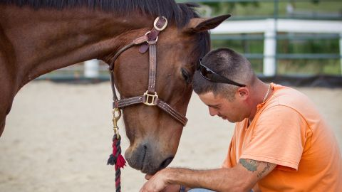 """David and Ace of Hearts share a moment. """"Every time I go to the barn, I can tell someone has changed by being around these horses,"""" Tucker said."""