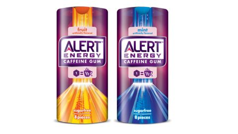 Alert Energy Caffeine Gum comes in two flavors: mint and fruit.