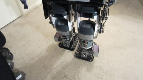 His feet are made from cooking trays and his legs were built using hi-fi speakers.