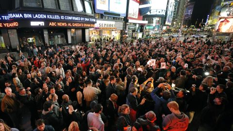 Times Square is filled shortly after the announcement of bin Laden's death.