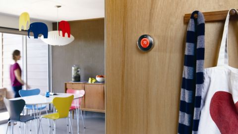 """The <a href=""""http://www.nest.com/"""" target=""""_blank"""" target=""""_blank"""">Nest thermostat</a> is another device that brings together elegant design with super-smart technology. It has the ability to remember, to learn about your lifestyle and adjust the temperature of your environment accordingly. Designed by former king of the iPod Tony Fadell, the thermostat turns down while you are away and can be controlled remotely via your smartphone. It looks cool too."""