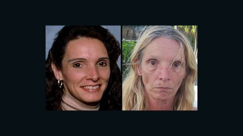Brenda Heist, before (left) and after (right) she went missing in 2002. She was found April 2013 in Key Largo, FL.