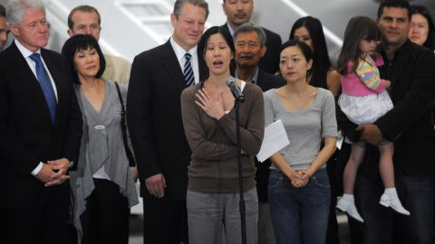 """North Korea has arrested Americans before, only to release them after a visit by a prominent dignitary. Journalists Laura Ling, center, and Euna Lee, to her left, spent 140 days in captivity after being charged with illegal entry to conduct a smear campaign. They were <a href=""""http://www.cnn.com/2009/US/09/02/journalists.ordeal/index.html"""">freed in 2009</a> after a trip by former President Bill Clinton."""