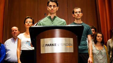 """Josh Fattal, center; Sarah Shourd, left; and Shane Bauer were detained by Iran while hiking near the Iraq-Iran border in July 2009. Iran charged them with illegal entry and espionage. Shourd was released on bail for medical reasons in September 2010; she never returned to face her charges. Bauer and Fattal were convicted in August 2011, but the next month they were <a href=""""http://www.cnn.com/2011/WORLD/meast/09/16/iran.hikers.timeline/index.html"""">released on bail</a> and had their sentences commuted."""