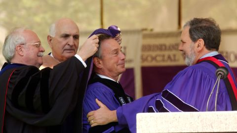 New York Mayor Michael Bloomberg is to deliver the commencement address at Stanford University in June. Bloomberg received an honorary degree from New York University President John Sexton, right, in 2003.