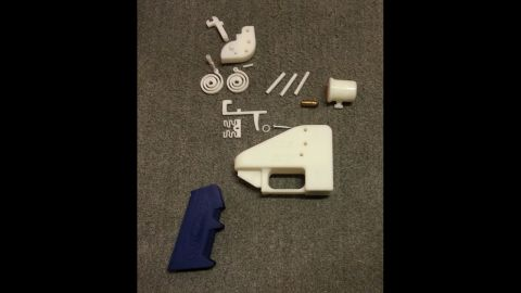 Shown here are parts that go into the plastic gun, called The Liberator. Everything in the gun can be printed except for its metal firing pin, claims the Texas group.