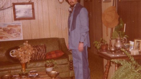 """Not all those looks were successful, especially early renditions of what's now known as the Canadian tuxedo. Patricia Alfano <a href=""""http://ireport.cnn.com/docs/DOC-964521"""">sewed this ill-fitting outfit</a> for her husband, which he wore quite a bit until """"I had to admit to him it was a 'fail'."""" All that denim, plus the large blocks of contrast """"made him look like a hippie Smurf."""""""