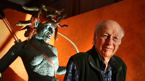 """<a href=""""http://www.cnn.com/2013/05/07/showbiz/movies/obit-ray-harryhausen/index.html"""">Ray Harryhausen</a>, the stop-motion animation and special-effects master whose work and influence was far-reaching, poses in front an enlarged model of Medusa from his 1981 film """"Clash of the Titans"""" in London in 2010. Harryhausen has died at 92, according to the <a href=""""https://www.facebook.com/pages/The-Ray-and-Diana-Harryhausen-Foundation/125012827632564"""" target=""""_blank"""" target=""""_blank"""">Facebook page</a> of the Ray and Diana Harryhausen Foundation."""