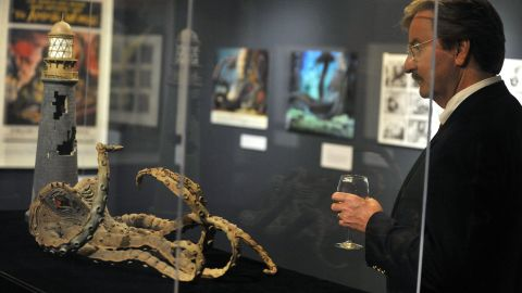 Attendees view the Harryhausen exhibit on May 13, 2010, in Beverly Hills.