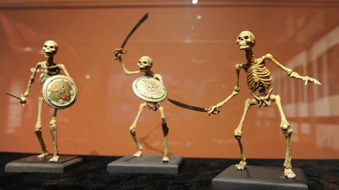 """Skeleton soldiers from """"Jason and the Argonauts"""" (1963) are displayed at the opening of """"The Fantastical Worlds of Ray Harryhausen"""" exhibition at the Academy of Motion Picture Arts and Sciences in Beverly Hills, California, on May 13, 2010."""