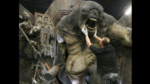 """A model of a cave troll from Peter Jackson's """"The Lord of the Rings: The Fellowship of the Ring,"""" whose movement was reportedly inspired by Harryhausen's animation, is on display at an exhibition in Potsdam, Germany, on January 18, 2007."""