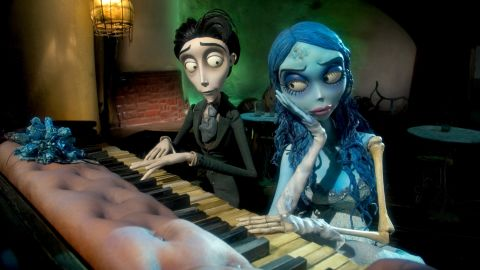 """The character Victor Van Dort plays a fictional Harryhausen piano with the corpse bride in a scene from Tim Burton's 2005 film """"The Corpse Bride."""""""