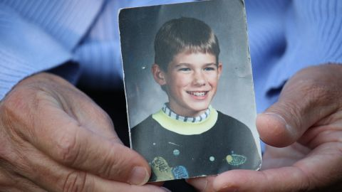 Jacob Wetterling was abducted at gunpoint in October 1989 at age 11 near his home in St. Joseph, Minnesota, near St. Cloud.  His mother, holding a photo of her son, remains hopeful that he will be found alive.